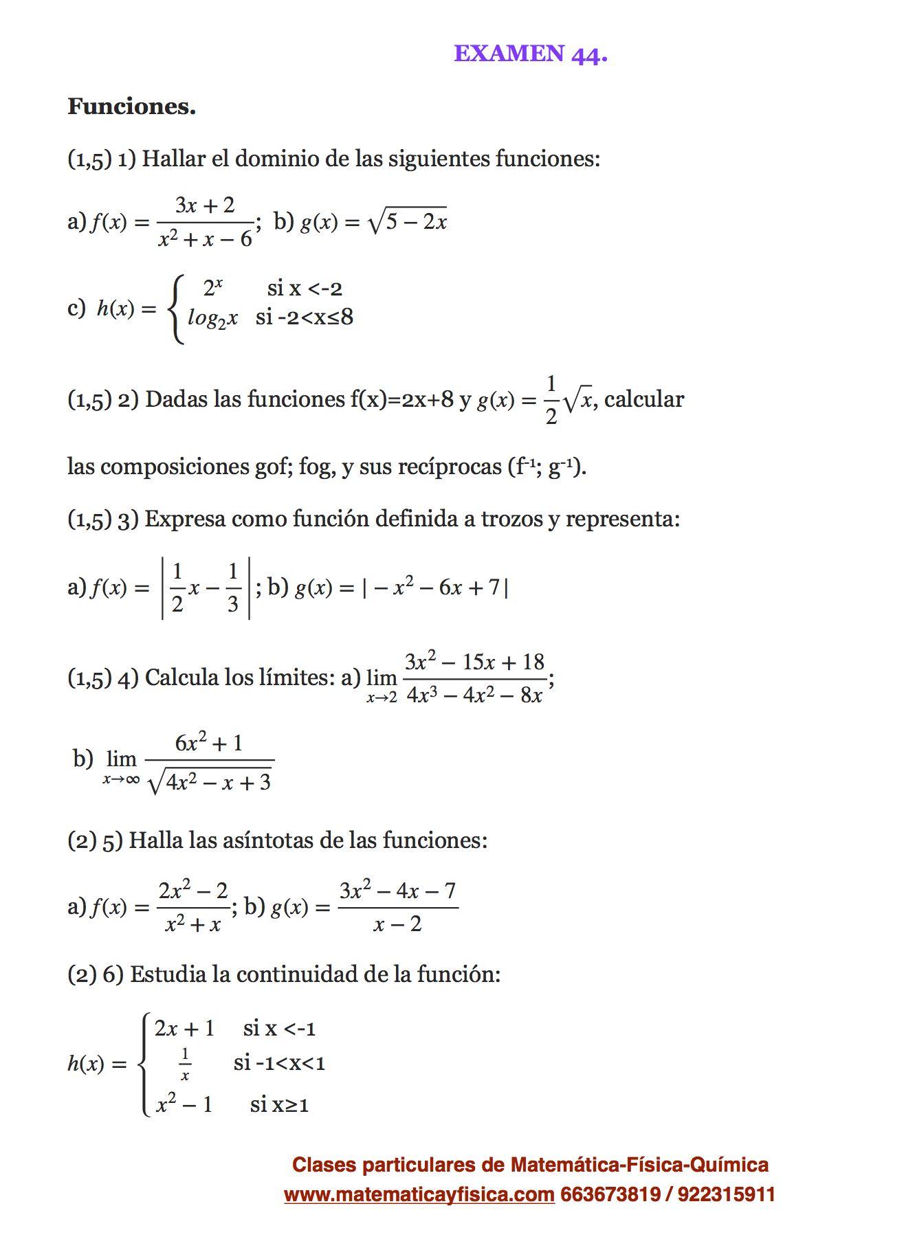 Examen 44 Matematica Bachillerato Examen De Matematicas