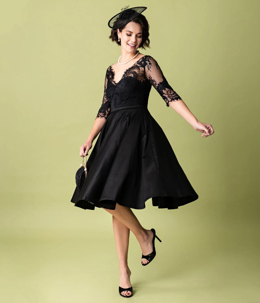 Vintage Diva 1950s Style Black Lace Sleeved Leonora Swing Dress Unique Vintage Vintage Black Lace Dress Cocktail Dress Lace Black Funeral Dress [ 1164 x 1000 Pixel ]