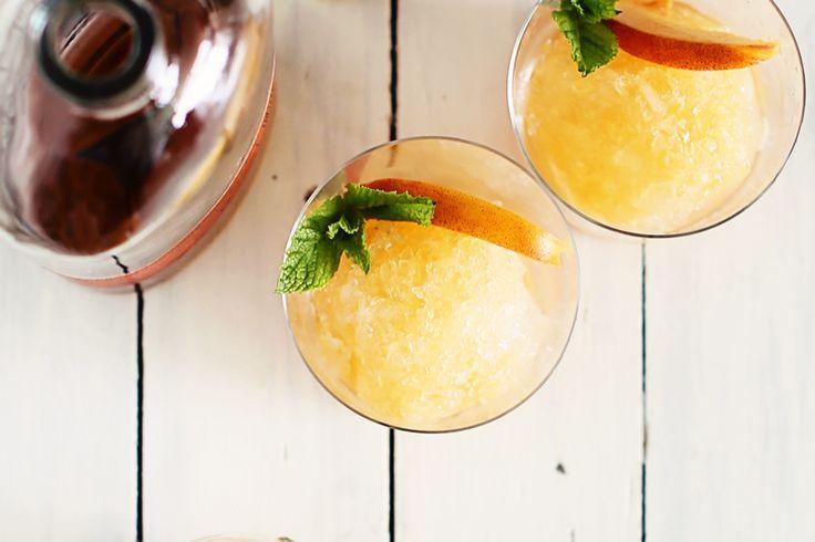 peach & bourbon snow cones #cocktails