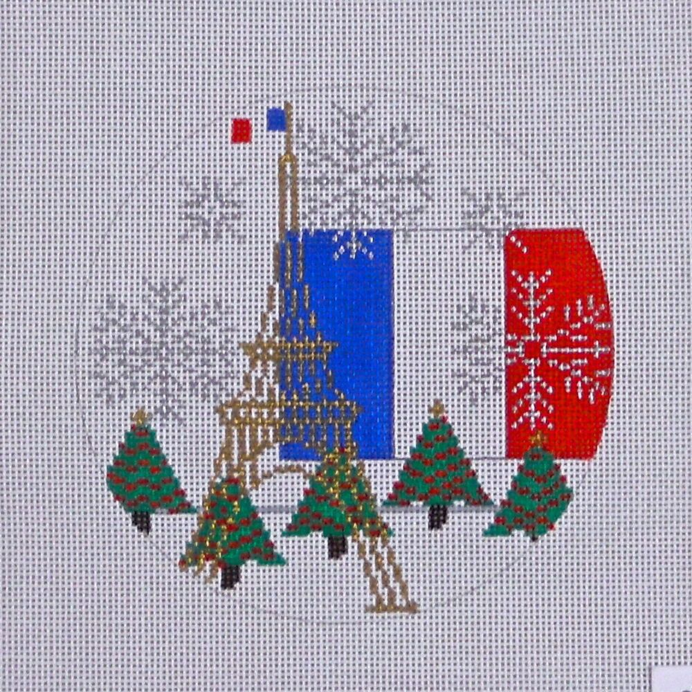 Handpainted Needlepoint canvas Eiffel tower Paris France ornament Trubey #TrubeyDesign