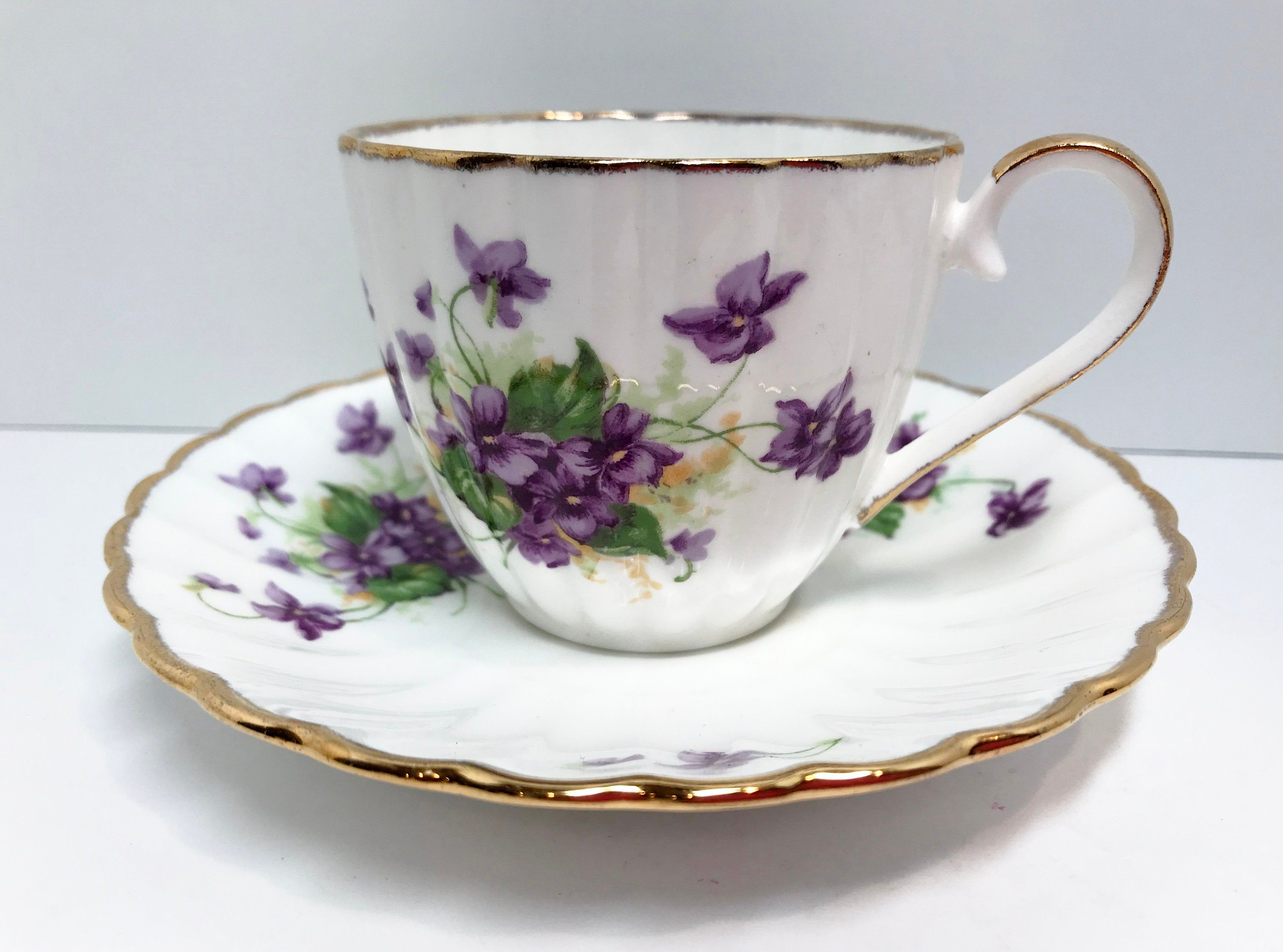 Jason Teacup and Saucer, Violets Tea Cup, Floral Teacup, Antique Tea Cups Vintage, English Bone China Cups, Antique Teacups Vintage, Teatime #teacups