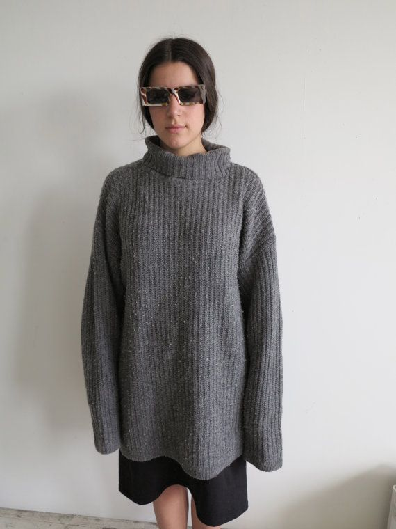 Vintage XL Big Baggy Slouch Oversized Turtleneck Sweater Dress ...