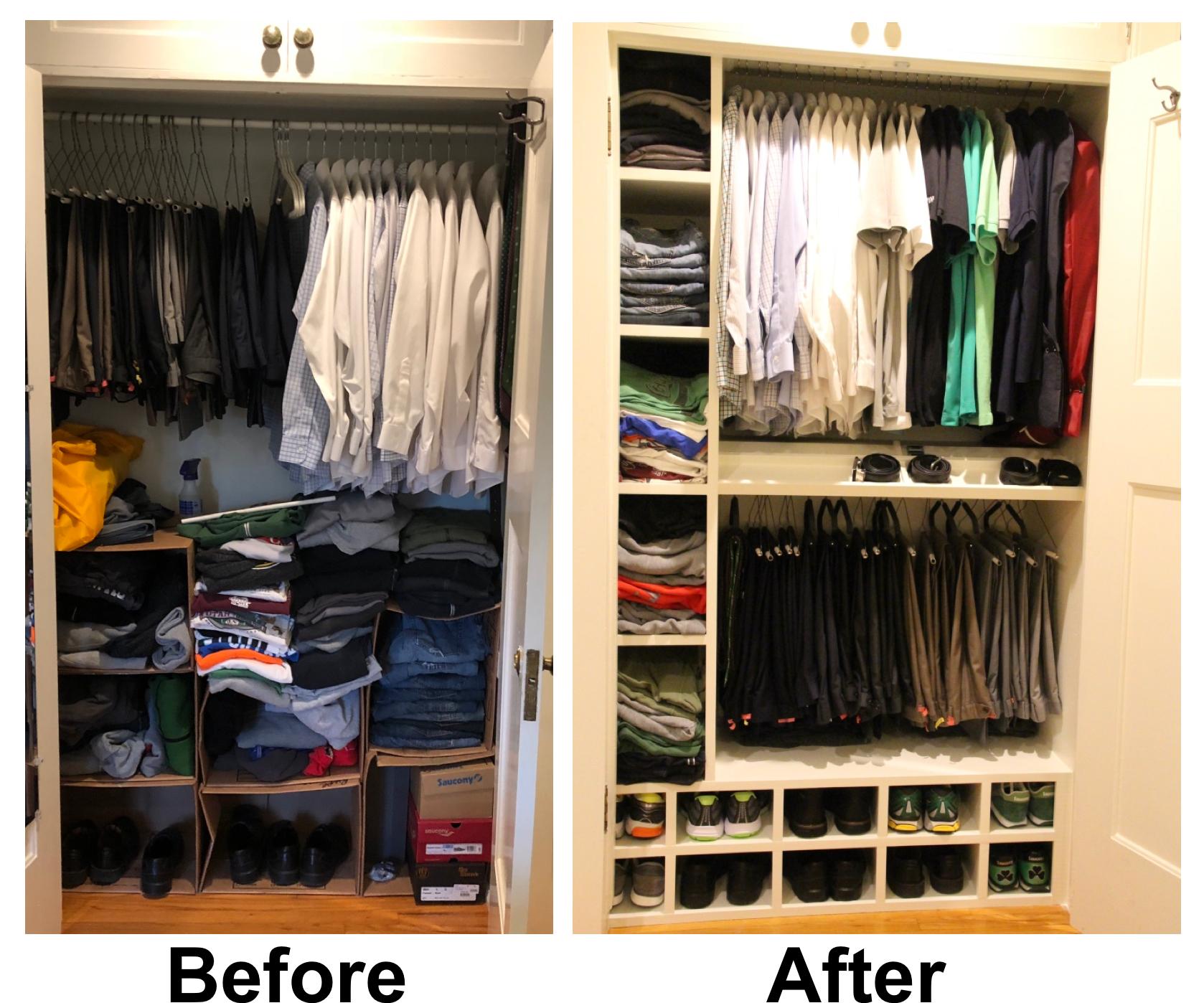 Closet Transformation Fixing An Old Closet Closet Transformation Closet Organizing Systems Messy Closet