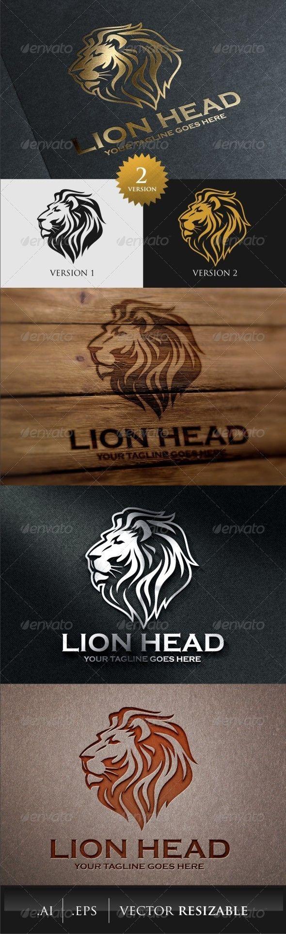 Lion Head Logo Template Animal design, Animal logo and