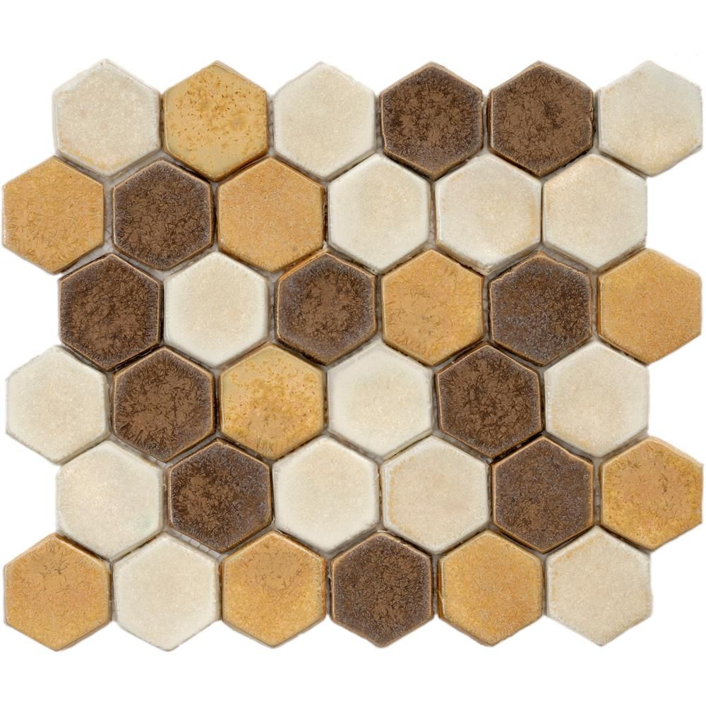 Merola tile cobble hex tahoma 10 34 in x 12 in x 12 mm ceramic merola tile cobble hex tahoma in x 12 mm ceramic mosaic tile browntanand creammedium sheen doublecrazyfo Choice Image