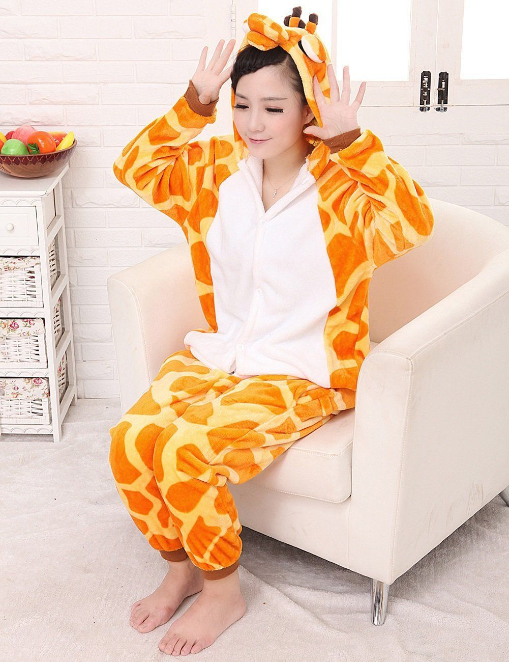 LETSQK Womens Adult Animal Pajamas One Piece Cosplay Giraffe Costume S    You can discover more information by going to the image web link. 2a9ec7246