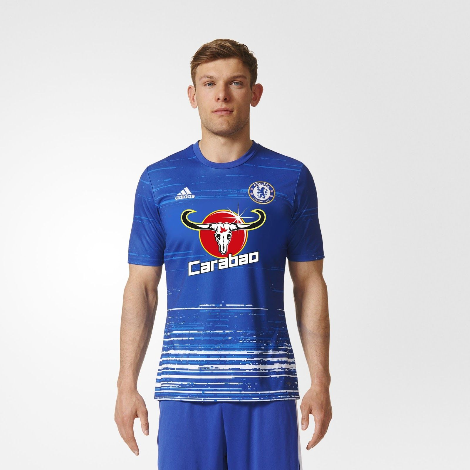 The new Chelsea pre-match shirt features the uber-bold Carabao logo for the  first time, matched by the shirt's distinctive overall look.