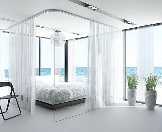 54 Amazing All-White Bedroom Ideas | Sheer curtains, White rooms ...