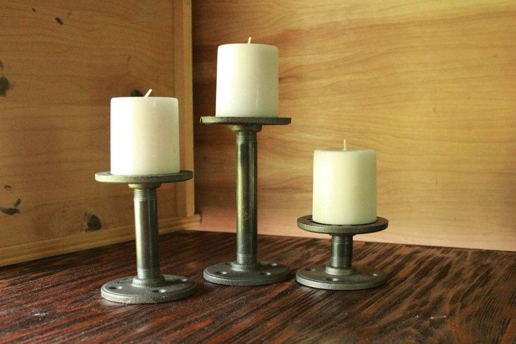 Stairstep Candle Holders Industrial Black Iron by cmhomedecor1