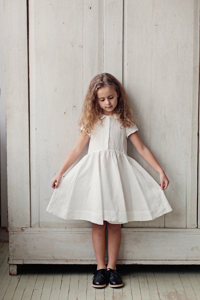 41f9a5af613 Classic Dress for Girls, Short Sleeves, White Magnolia   Little girl ...