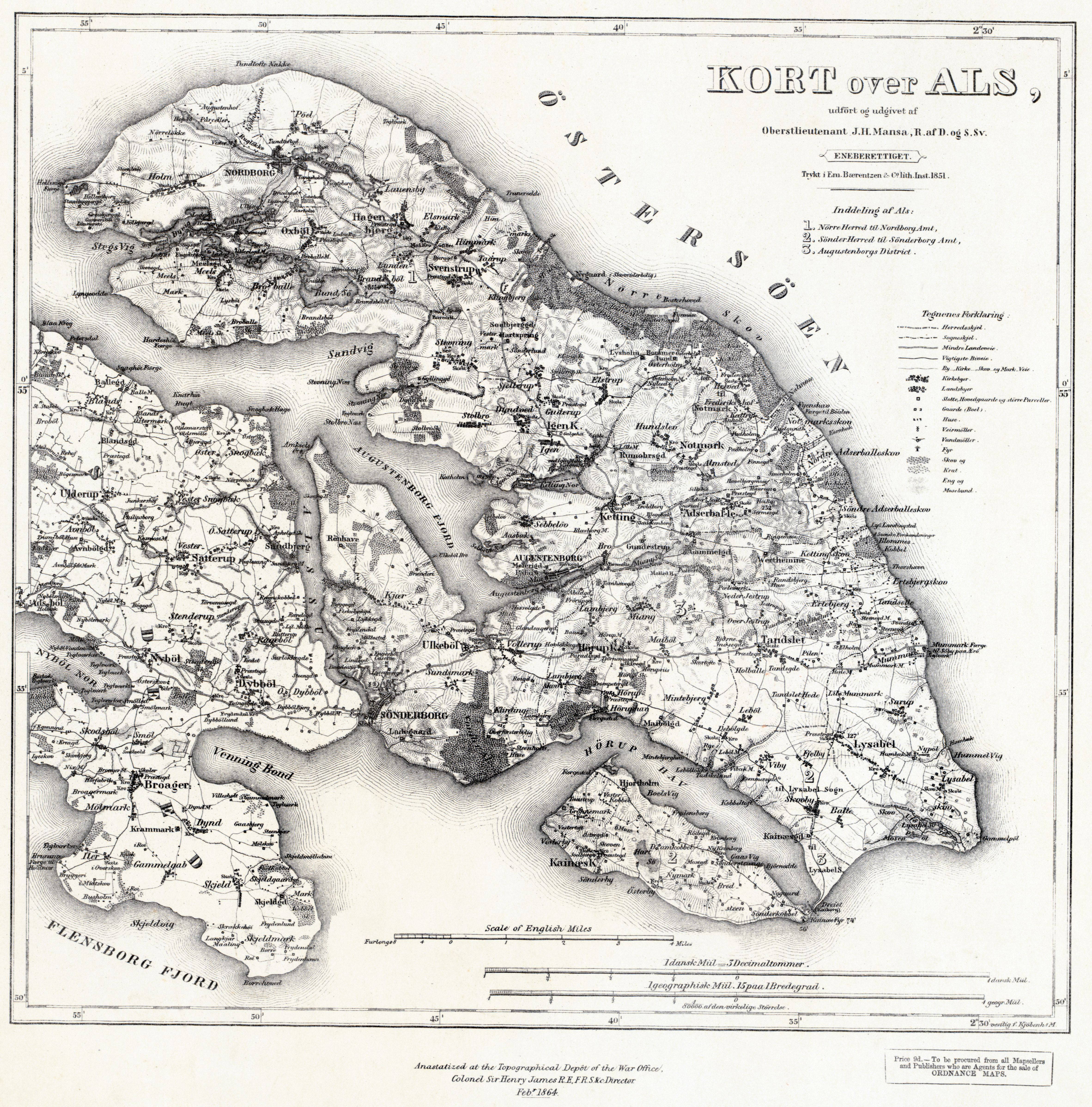 Military Map Of The Danish Island Of Als Drawn At The