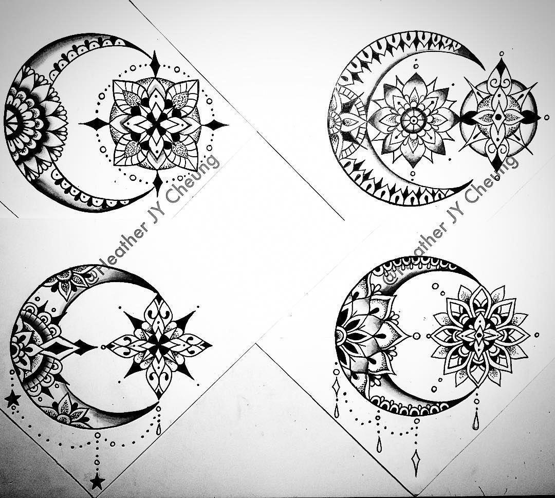 Mandala Moon Ideas Mandalatattoo Style Pinterest Tatuajes