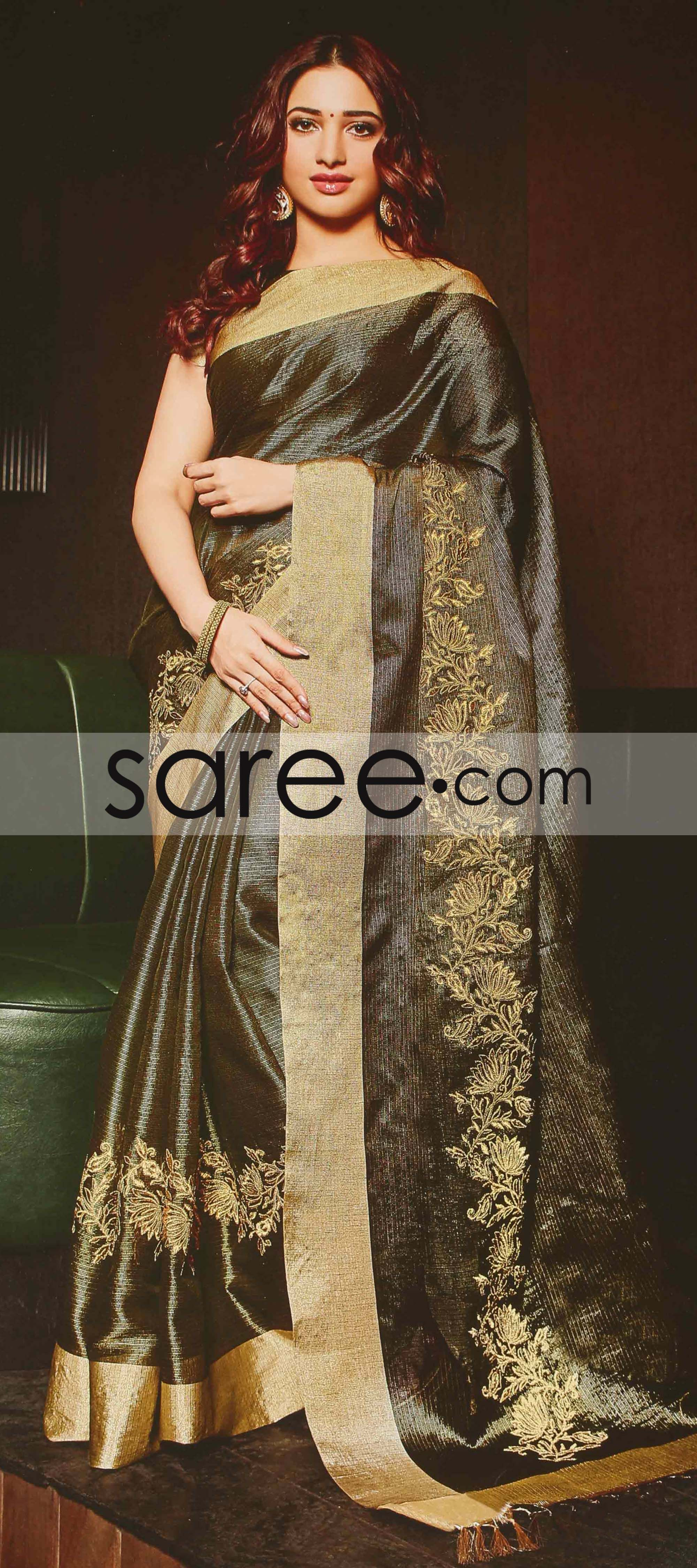 Tamannaah Bhatia Grey Silk Saree with Zari Embroidery Work