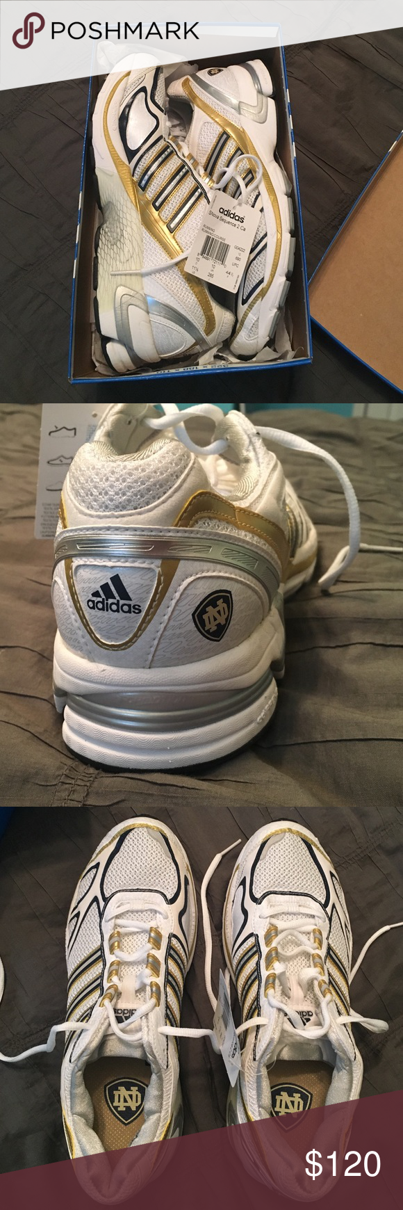 Notre Dame Adidas Volleyball Shoes White Gold And Navy Blue Adidas Volleyball Shoes Notre Dame Logo On H Adidas Volleyball Shoes Volleyball Shoes Blue Adidas