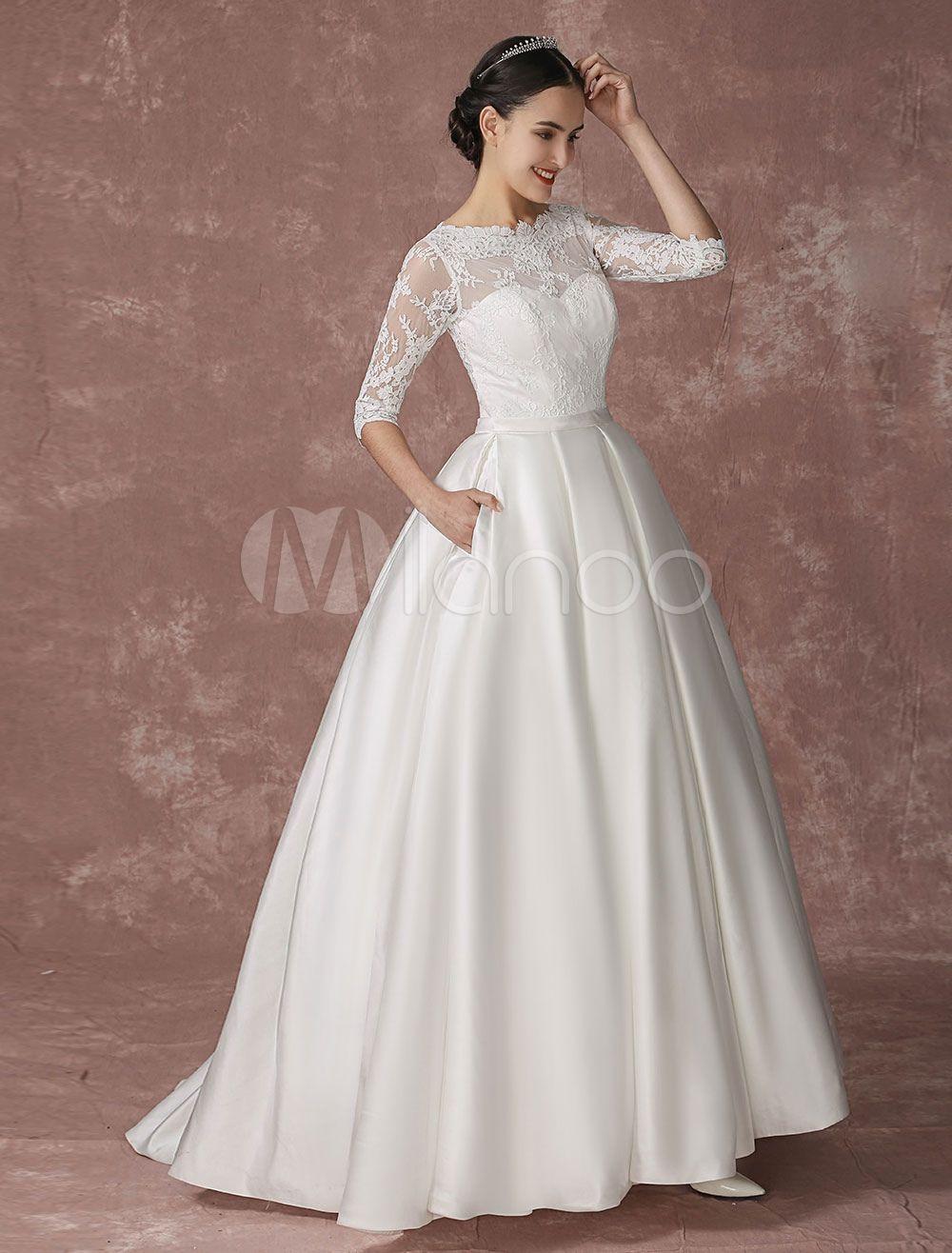 Satin Princess Wedding Dress Lace Ball Gown Bridal Dress Half ...