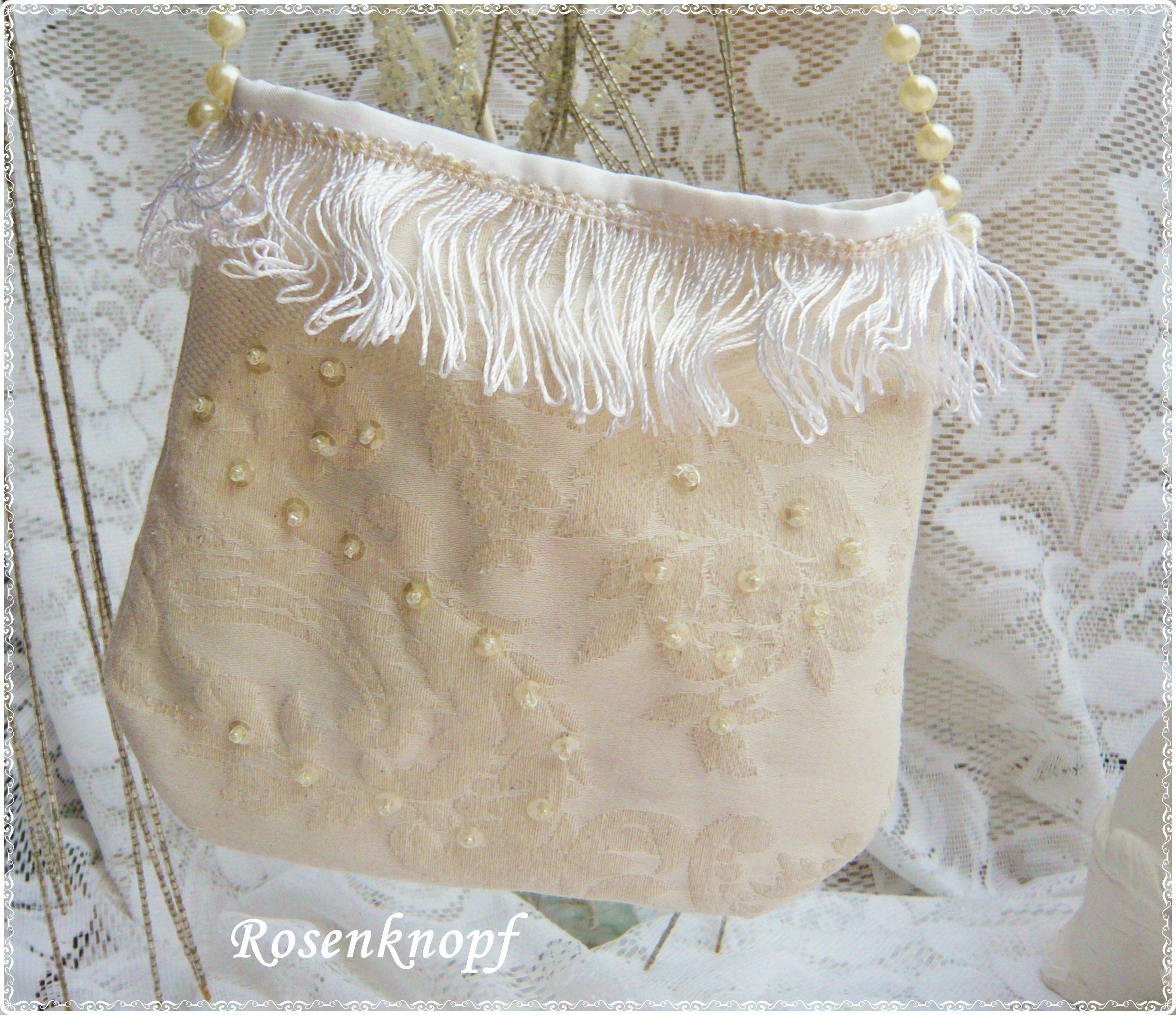 Tasche Bridal Bag Ivory Sequins Embroidery Handbag Women S Handbag Shoulder Bag Unikat Bride Women S Wedding Evening Bag Fringe Damenhandtaschen Brauttasche Abendtaschen