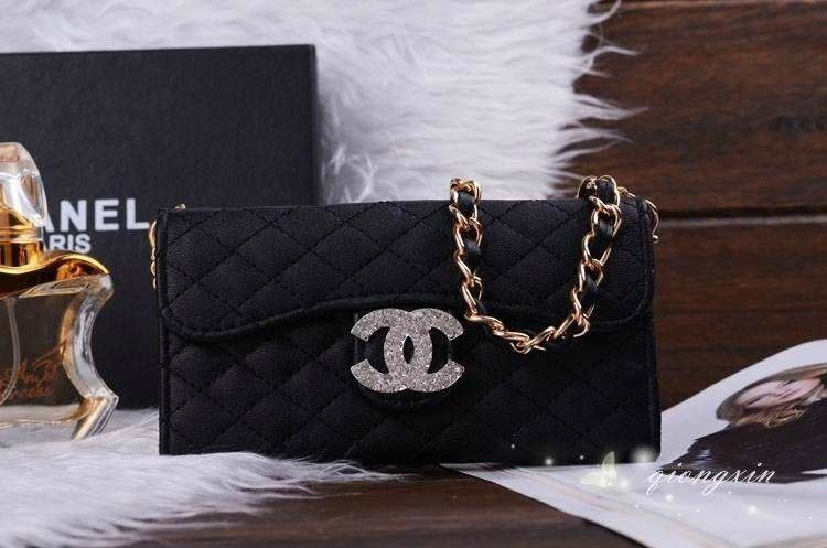 Samsung Galaxy S5 Chanel Cross Body Chain Case Covers Black Free Shipping - Deluxeiphonecase.com