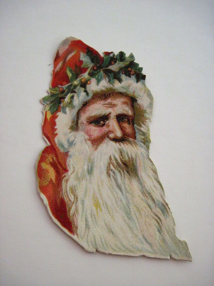 Vintage Victorian Antique Christmas Die-Cut of Father Christmas's Face & Holly