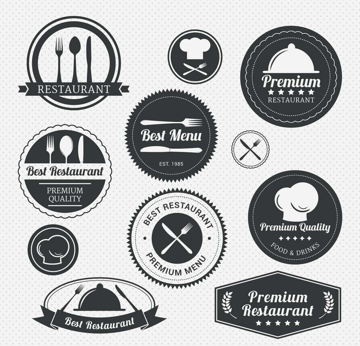 Premium restaurant menu label set menu restaurants and logos restaurant menu labels with forks and knives set vector buycottarizona Image collections