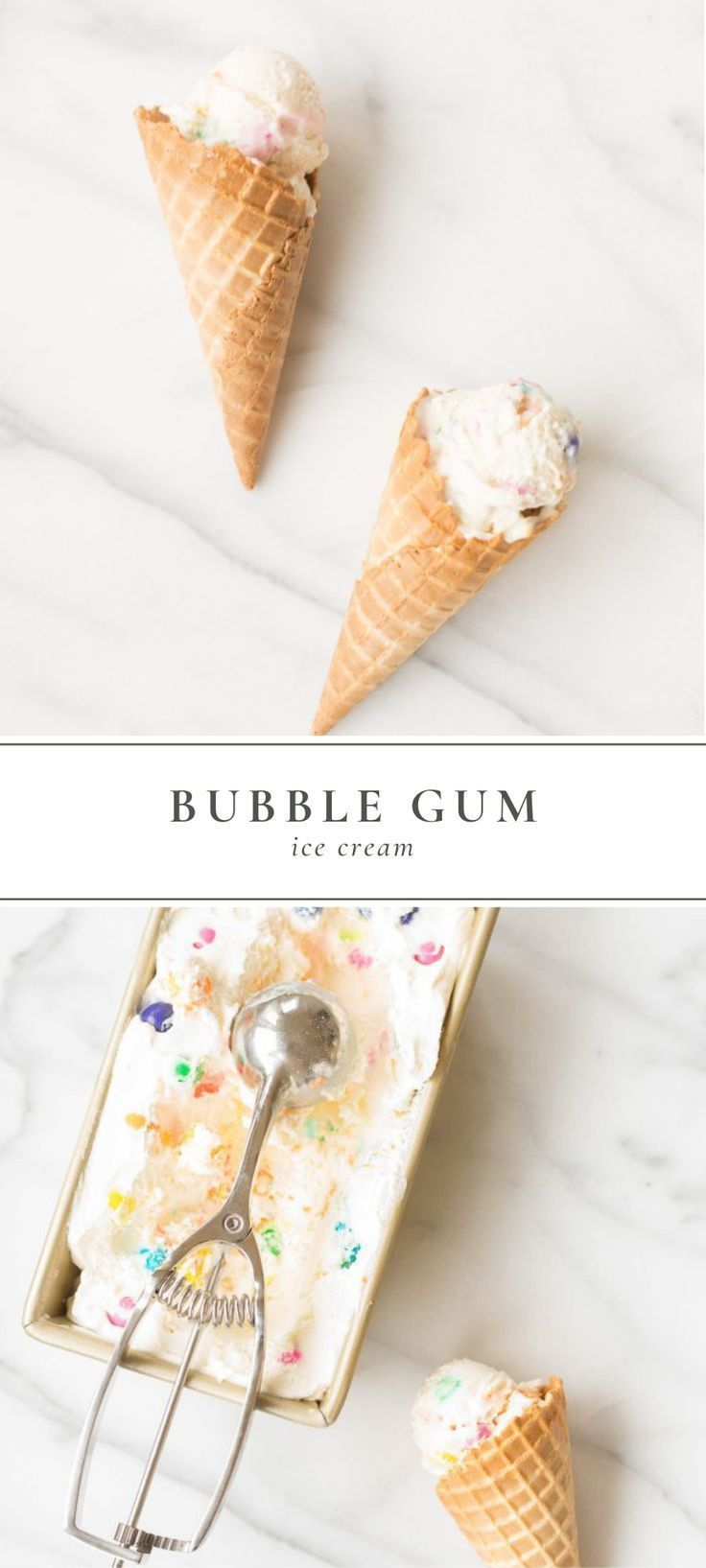 """A quick Bubble Gum Ice Cream recipe with just 4 ingredients and 5 minutes of hands-on time. This no-churn ice cream requires no special """"tools"""" and is the perfect ice cream to make with your child. It is the stuff childhood dreams are made of! quick Bubble Gum Ice Cream recipe with just 4 ingredients and 5 minutes of hands-on time. This no-churn ice cream requires no special """"tools"""" and is the perfect ice cream to make with your child. It is the stuff childhood dreams are made of!"""
