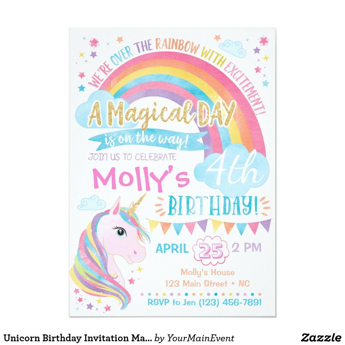 unicorn rainbow party invites birthday invitations children boys girls kids