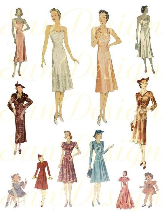 1920s 1930s Women fashion Digital Collage Sheet by SanDesign, $1.95 ...