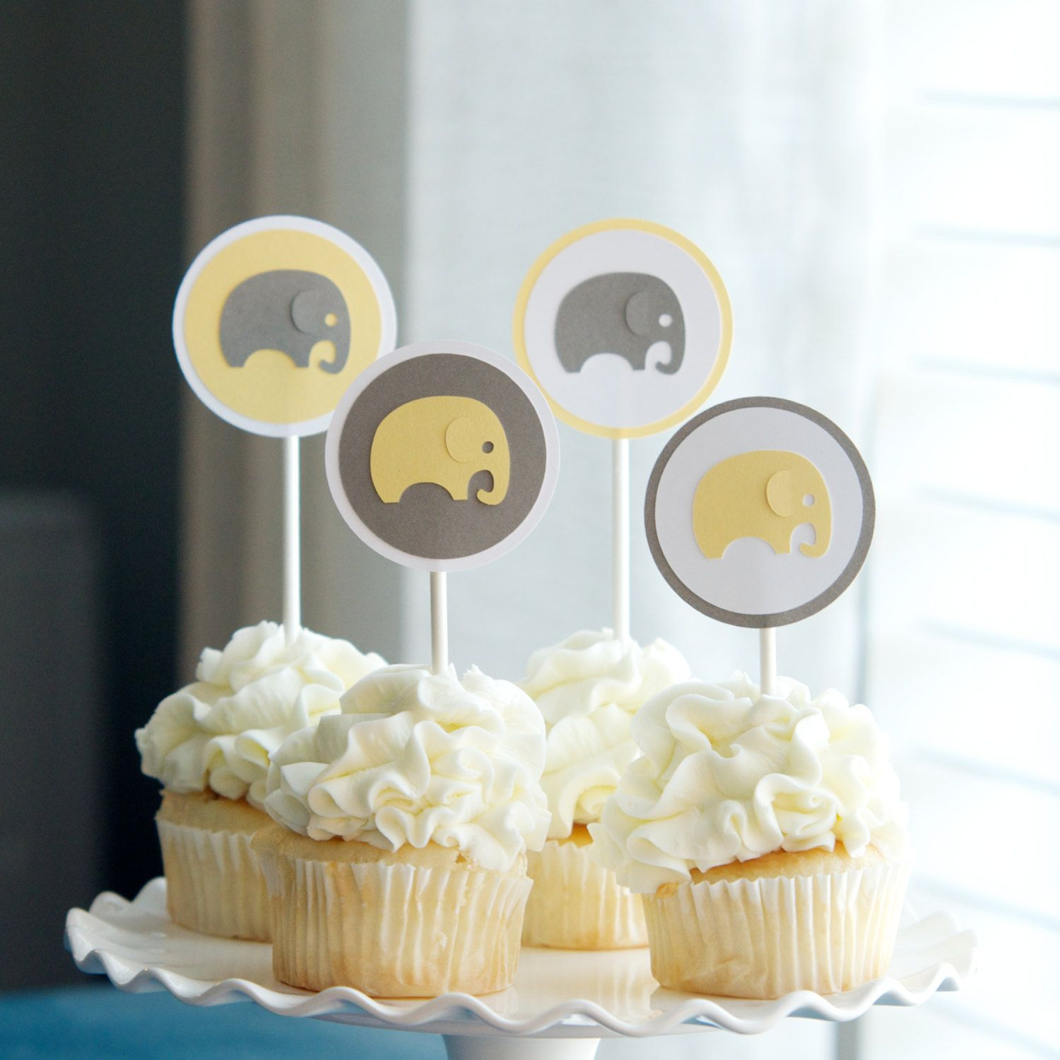 Baby Shower Elephant Cupcake Toppers $12 00 via Etsy