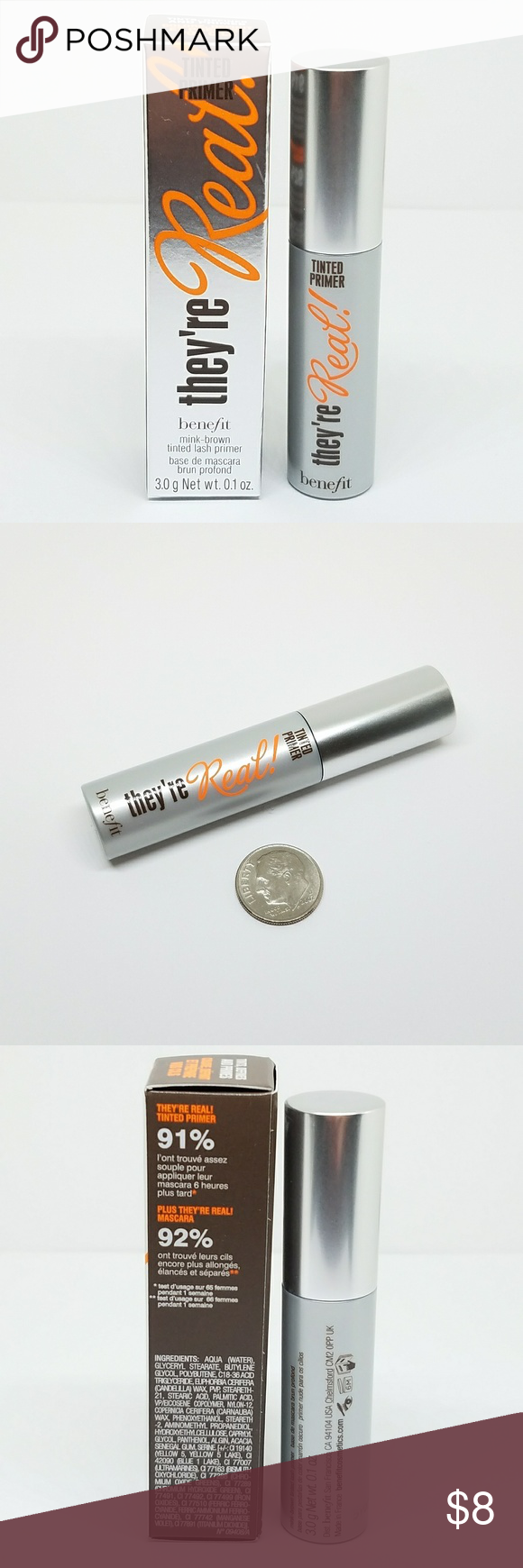 3e37dfc91d7 Benefit They're Real MINK BROWN Tinted Lash Primer Brand New in Box Travel  Size 0.10 oz (3g) Benefit Makeup Mascara