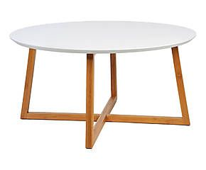Table basse bois de bambou naturel et blanc 80 d co for Table basse bambou