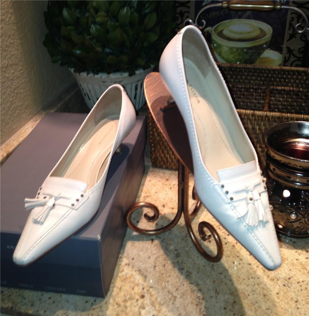 Ann Taylor Maxine Chalk Leather Pumps Shoes 7 5 M   eBay