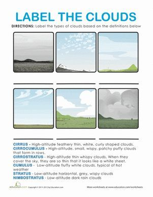 types of clouds weather pinterest science worksheets second grade science and science lessons. Black Bedroom Furniture Sets. Home Design Ideas