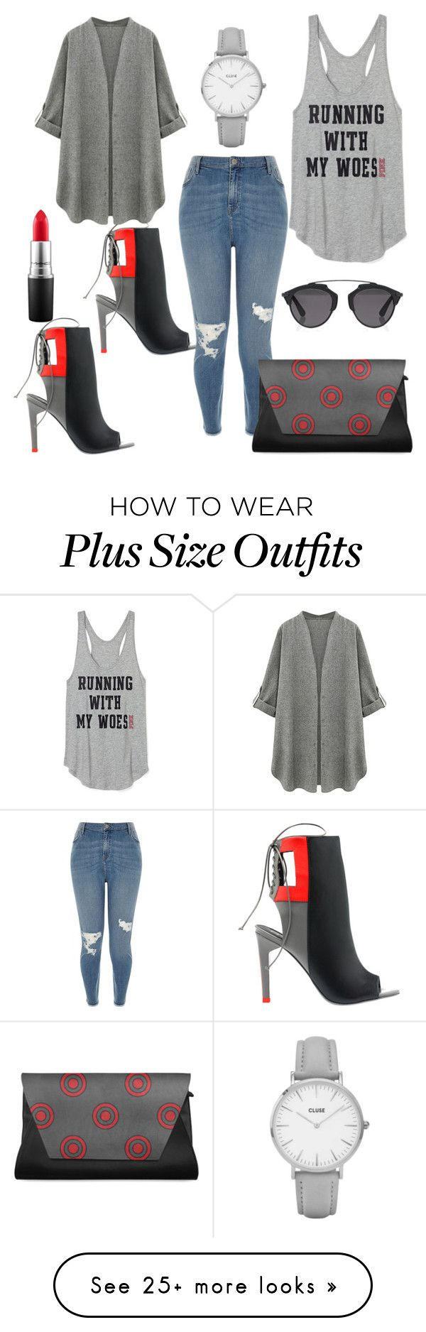"""Outfit for normal and plus size"" by michamc on Polyvore featuring Alepel, River Island, MAC Cosmetics, Christian Dior and Topshop"