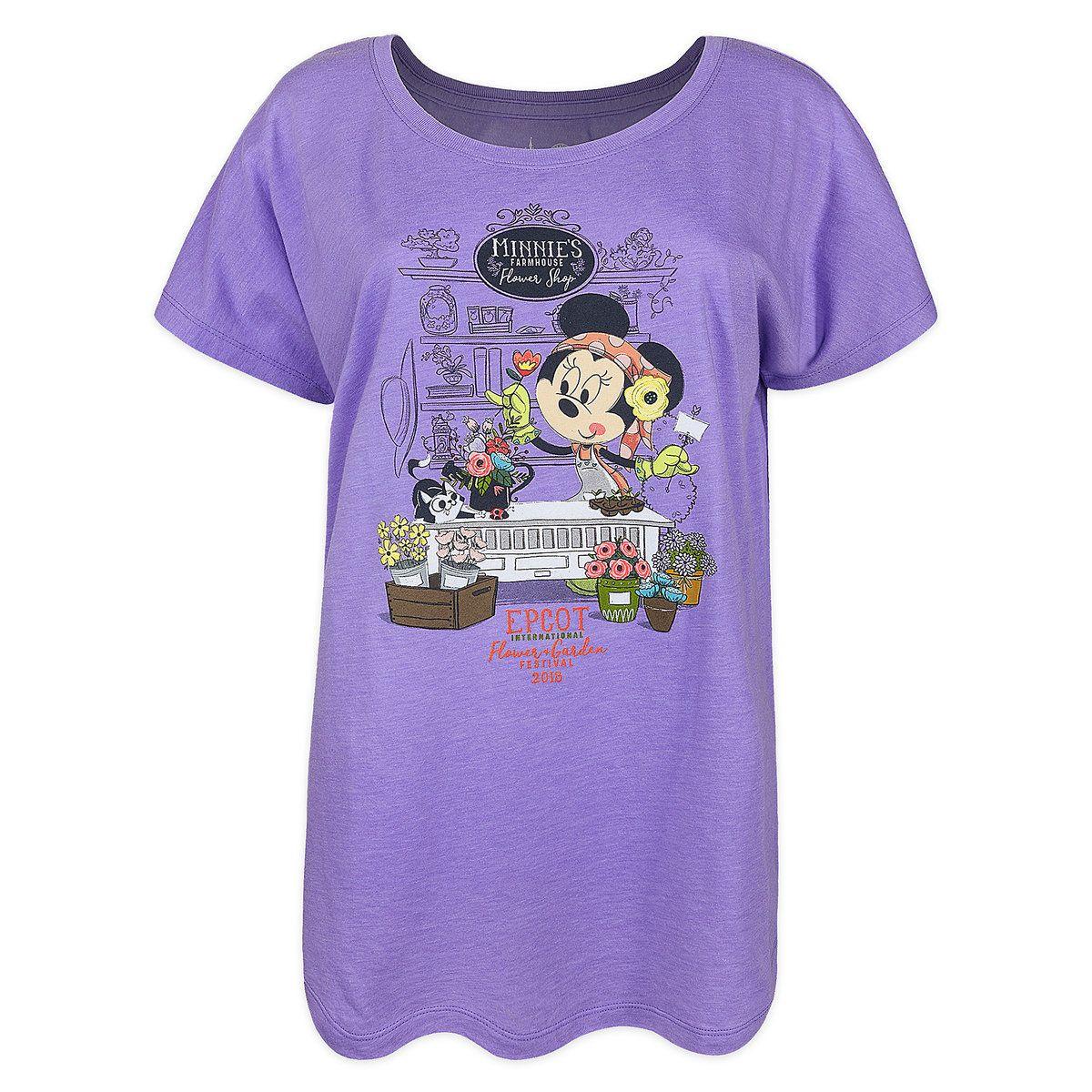 minnie mouse t-shirt for women - epcot international flower & garden