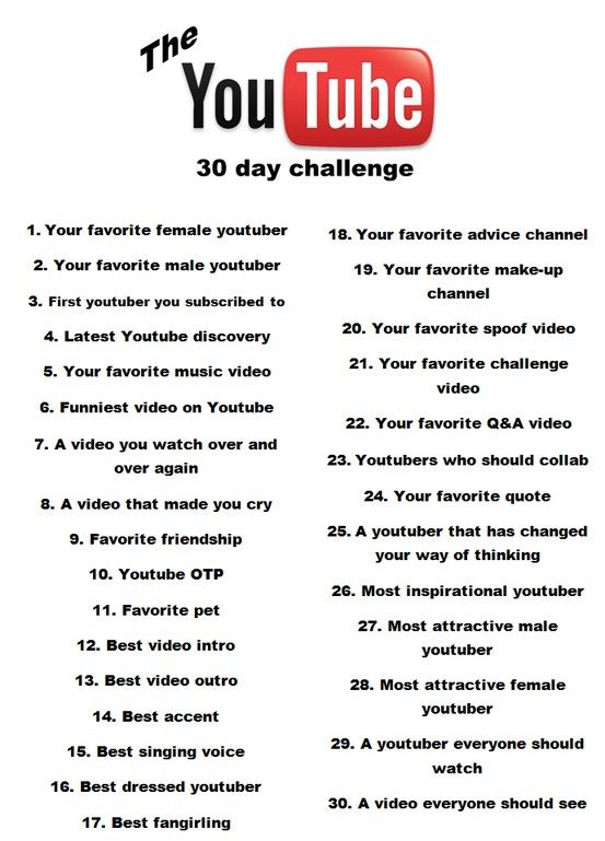 The 30 day Youtube challenge ♥