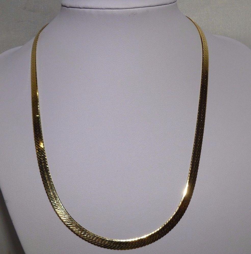 Herringbone 14k Gold Necklace 20 Italian Chain 20 1 Grams 6mm Wide Hardly Used Handmade Herringbonechain Solid Gold Necklace Italian Chains Gold Necklace