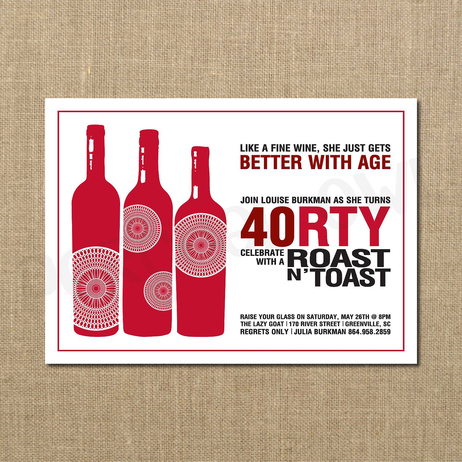 Like a Fine Wine Better with Age 40th Birthday Invitation. $12.00 ...