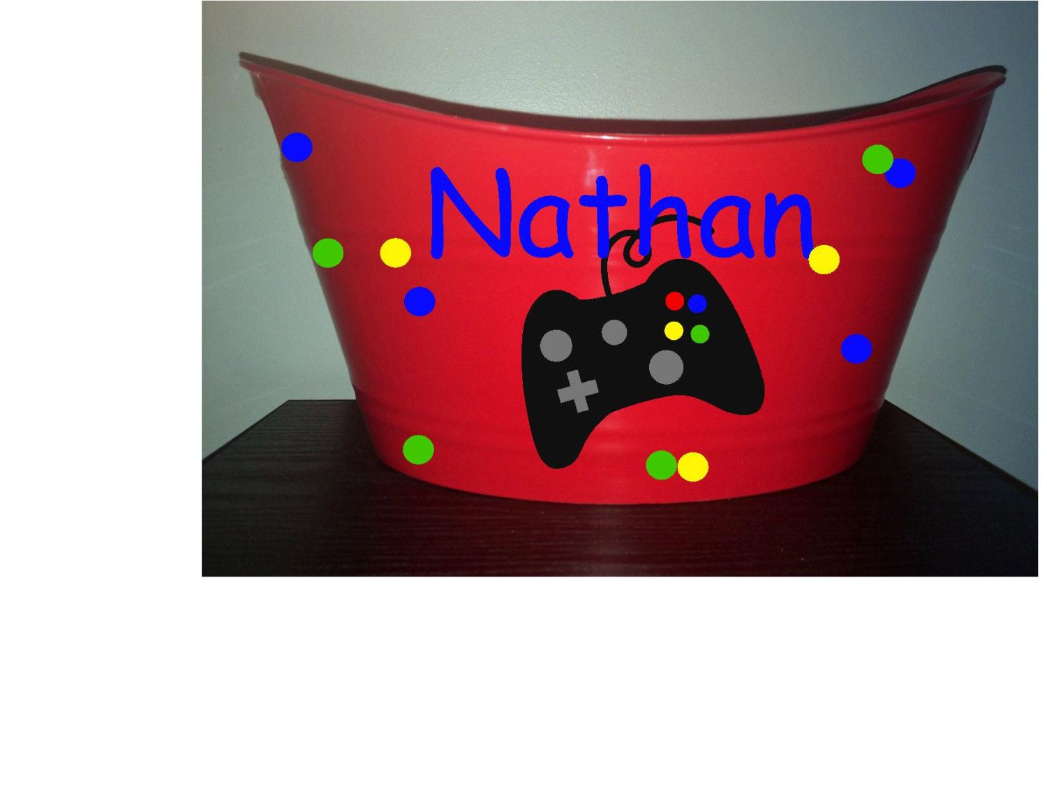 Video game themed red bin easter basket and more by video game themed red bin easter basket and more by personalizedbydawn on etsy negle Images