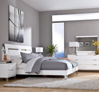 Bedroom Paint Color Ideas For White Furniture: Contemporary Bedroom With  The Best Gray Paint Colors Modern,Interior