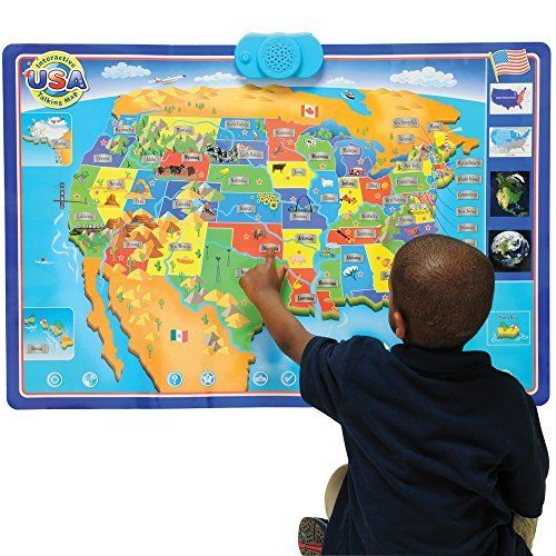 Cp Toys Interactive Talking Usa Wall Map W Facts And - Facts about maps for kids