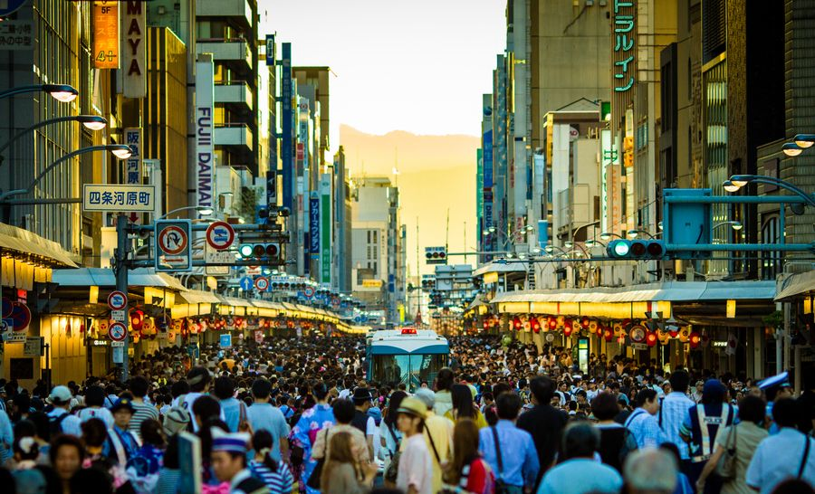 shijou street crowd of people today... by Ark Tui