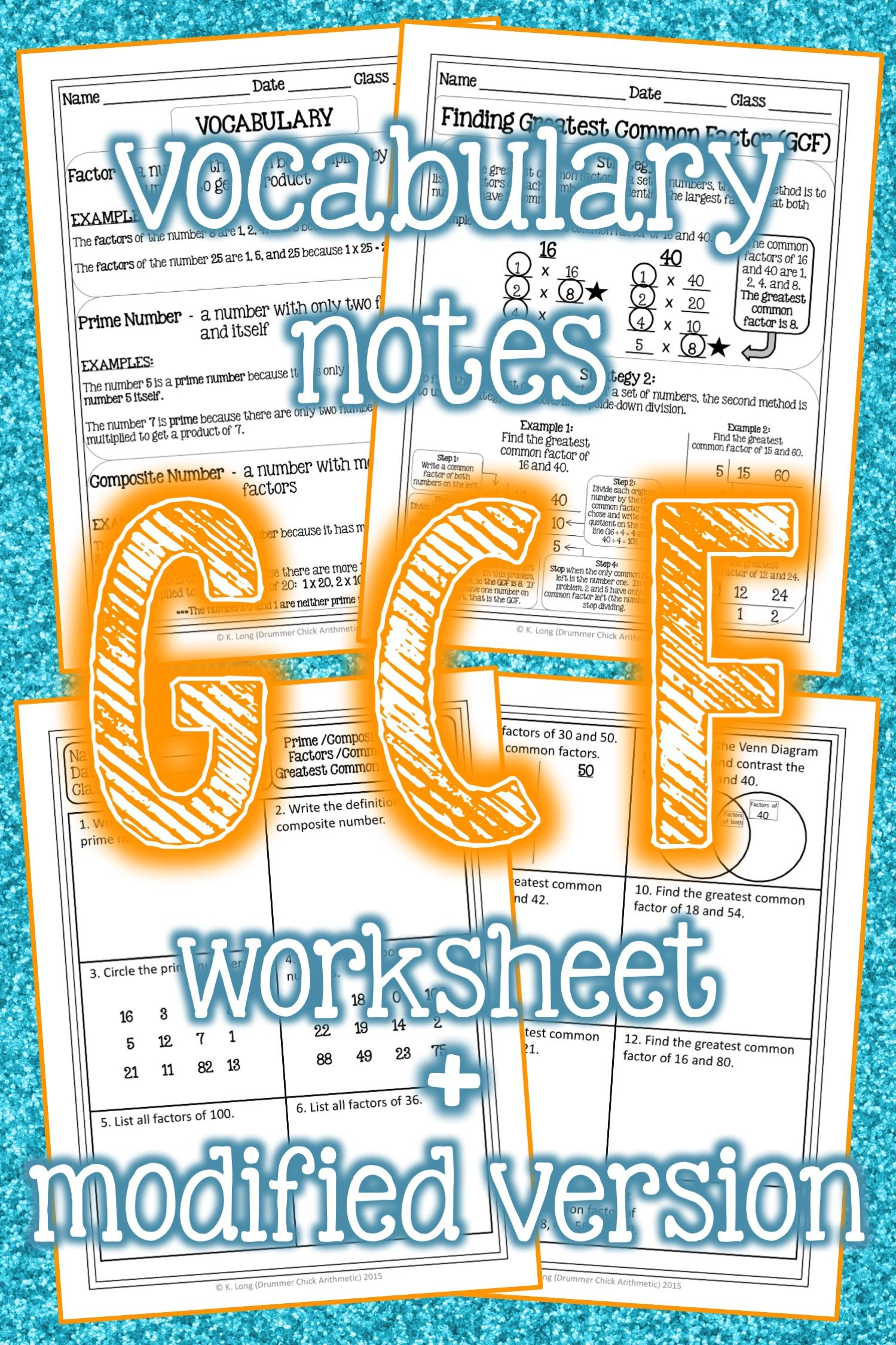 Greatest Common Factor Worksheet Vocabulary Notes In