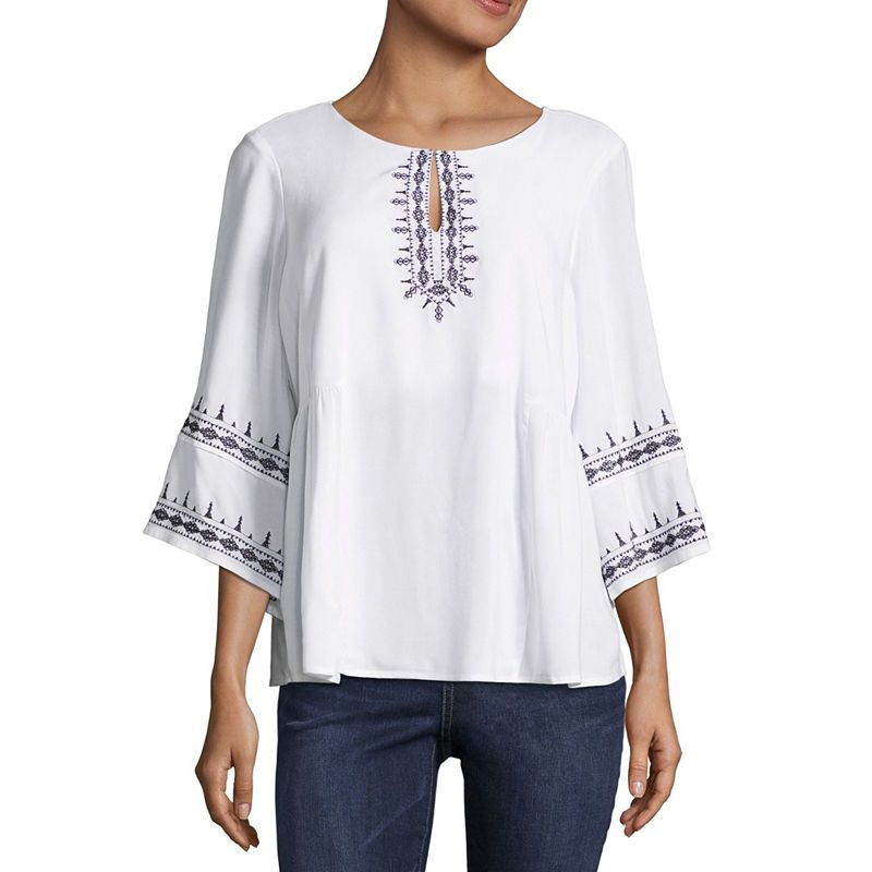 bda17427ac1bdb Liz Claiborne 3 4 Sleeve Embroidered Peasant Top