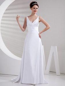 Elegant Ivory A-line Empire Waist V-Neck Regular Ruched Satin Evening Dress