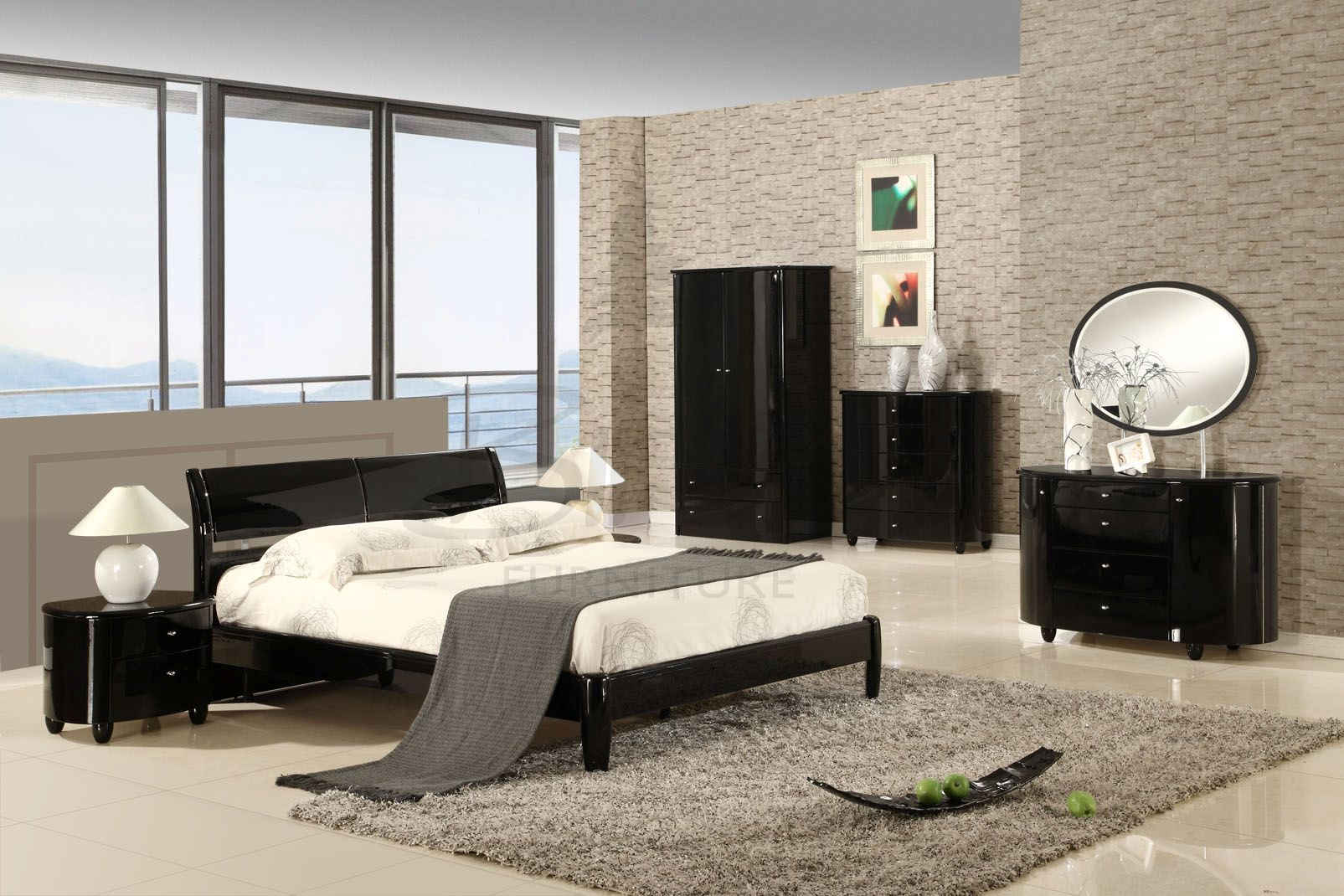 White Or Black Furniture Walls View In Gallery Black High ...