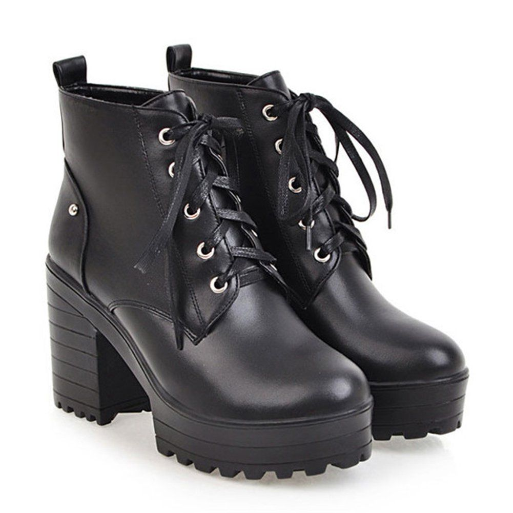 e0e3f2faeb93 HiEase Womens Classic Lace up Martin Boots Waterproof Block Chunky Heel  Short Boots 10 BM US Black     Read more at the image link.