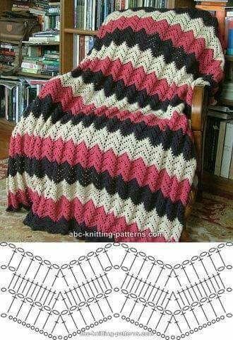 coberta de crochê ponto zig zag com passo a passo | Pinterest | Häkeln
