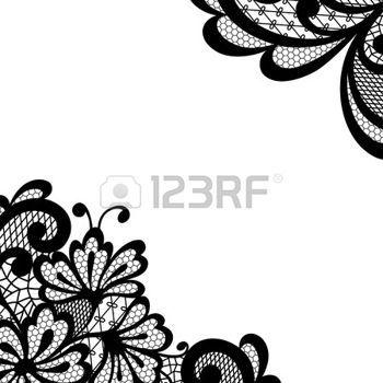 dessin noir et blanc: vector ornement. coin noir de dentelle