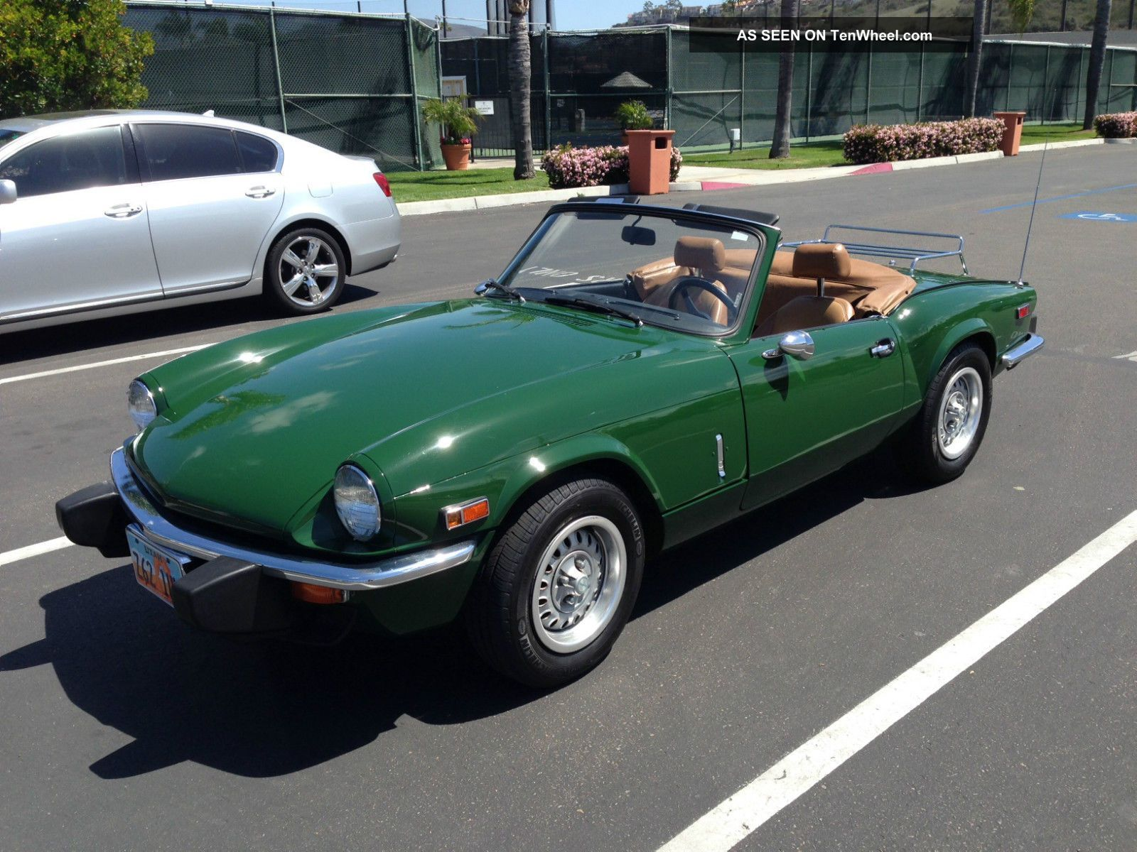 vintage cars 1970s triumph spitfire convertible green tan interior ...