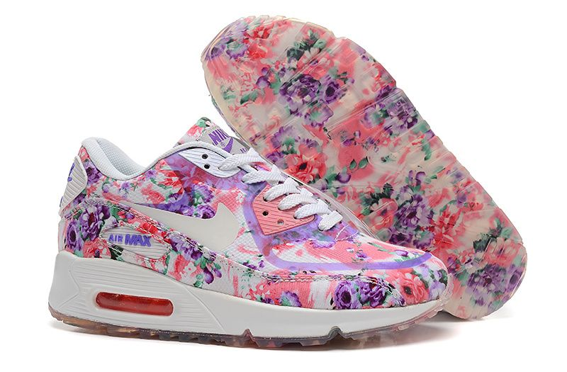 Violet cheap women nike air max 90 flower,nike shoes for
