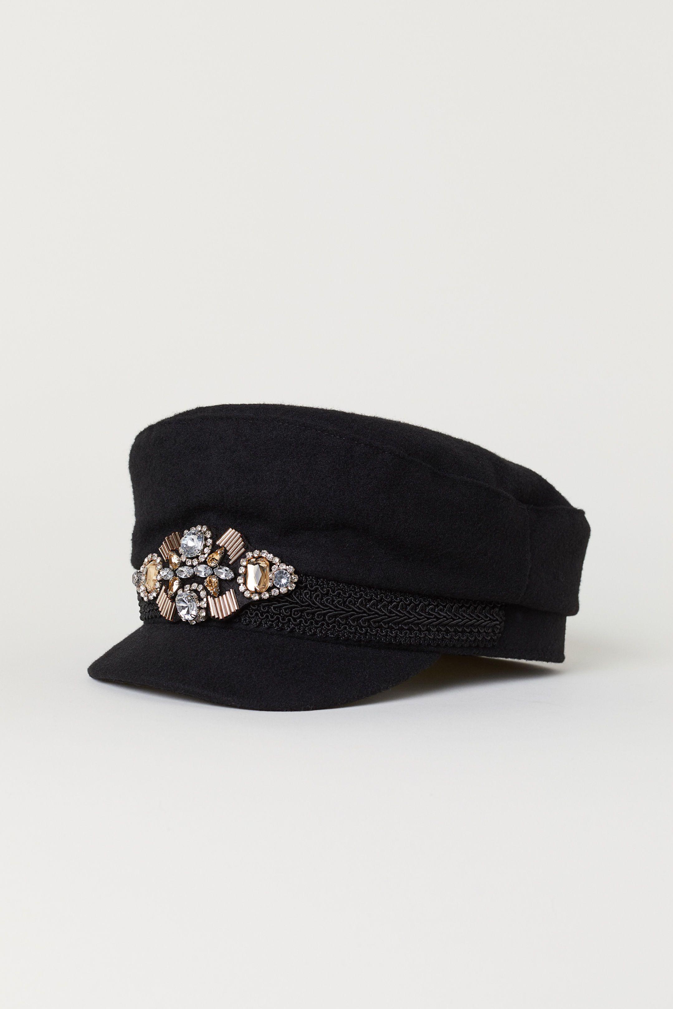 Bead-appliquéd Captain s Cap - Black - Ladies  d42ac3d0d8f2